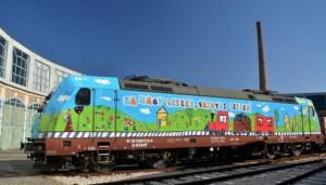 MÁV gyermekrajzok a TRAXX mozdonyon